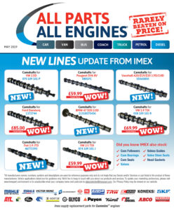 Camshafts - engine parts - new lines from IMEX