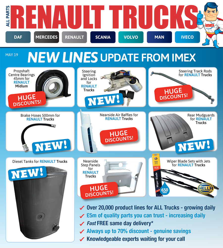 Replacement Renault truck parts at IMEX